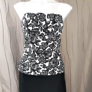 WHBM NWT 10 Black White Bustier Lined Top
